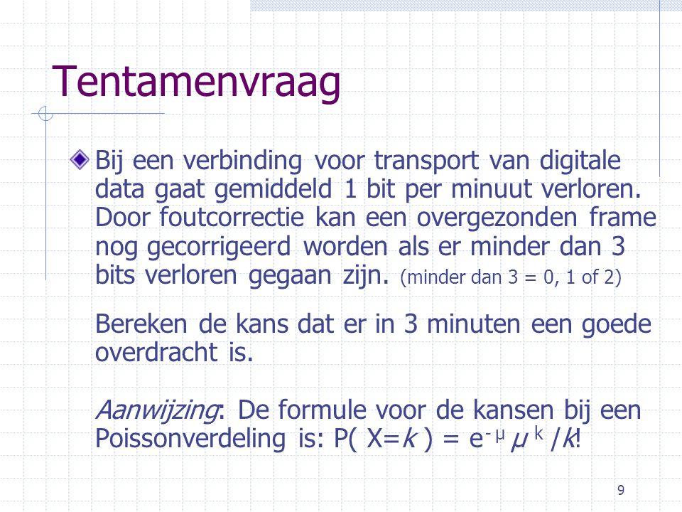9 Tentamenvraag Bij een verbinding voor transport van digitale data gaat gemiddeld 1 bit per minuut verloren.