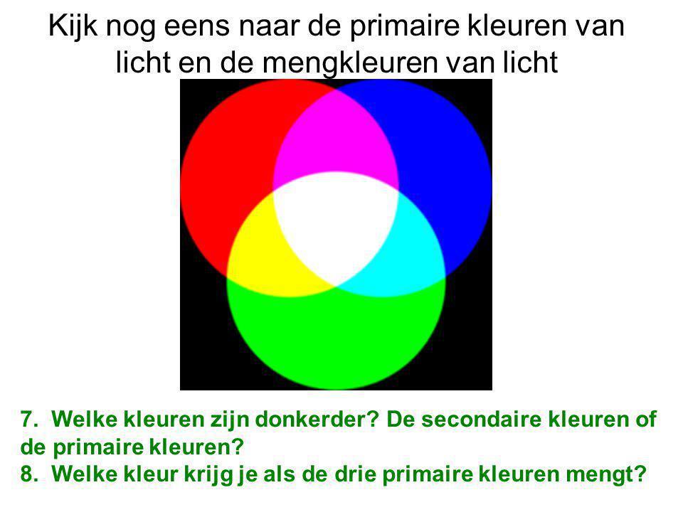 Kijk nog eens naar de primaire kleuren van licht en de mengkleuren van licht 7.