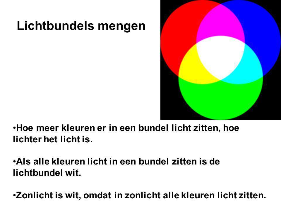 Hoe meer kleuren er in een bundel licht zitten, hoe lichter het licht is.