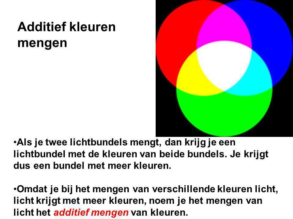Als je twee lichtbundels mengt, dan krijg je een lichtbundel met de kleuren van beide bundels.