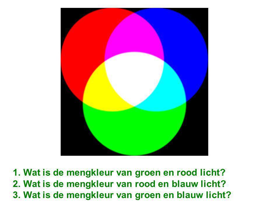 Al deze kleuren licht en nog veel meer kleuren kun je mengen met rood, blauw en groen licht.