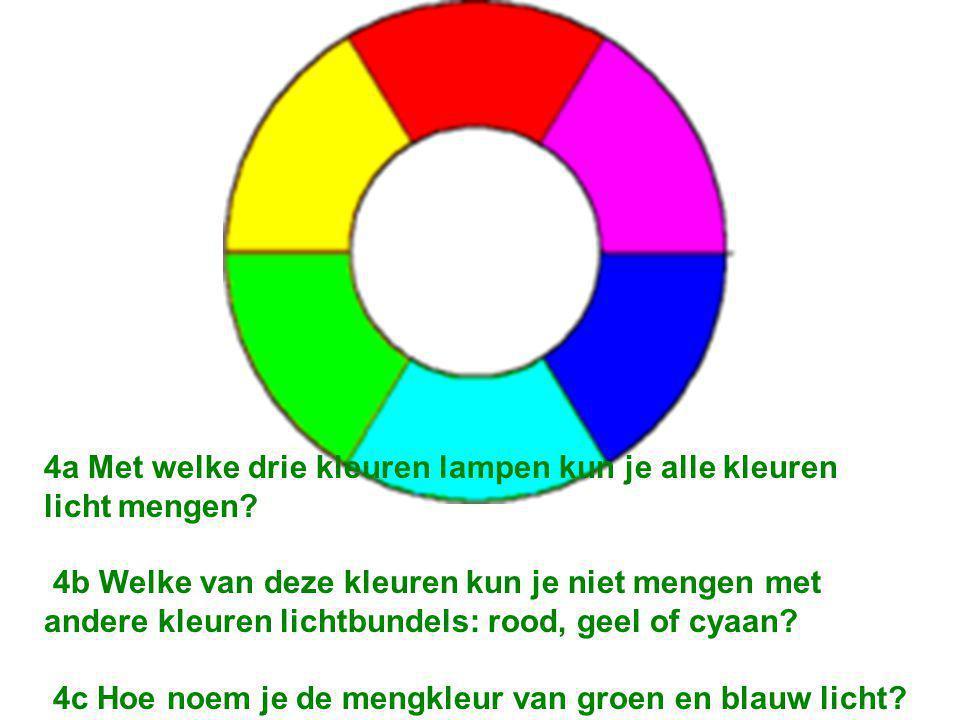 4a Met welke drie kleuren lampen kun je alle kleuren licht mengen.