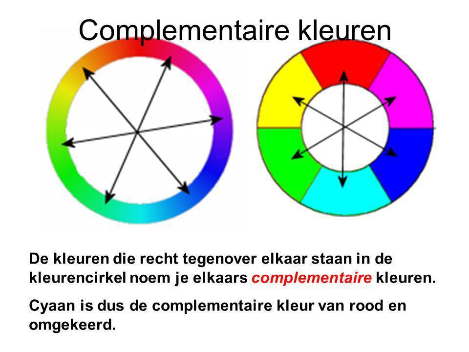 De kleuren die recht tegenover elkaar staan in de kleurencirkel noem je elkaars complementaire kleuren.