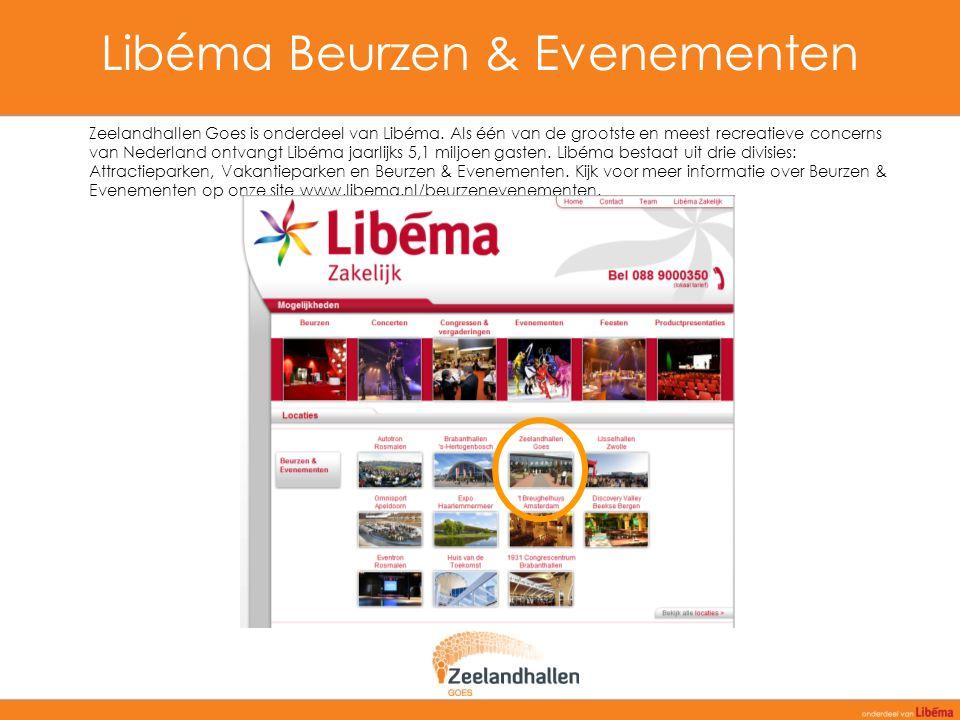 Libéma Beurzen & Evenementen Zeelandhallen Goes is onderdeel van Libéma. Als één van de grootste en meest recreatieve concerns van Nederland ontvangt