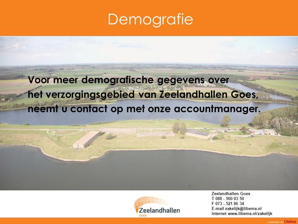 Demografie Voor meer demografische gegevens over het verzorgingsgebied van Zeelandhallen Goes, neemt u contact op met onze accountmanager. Zeelandhall