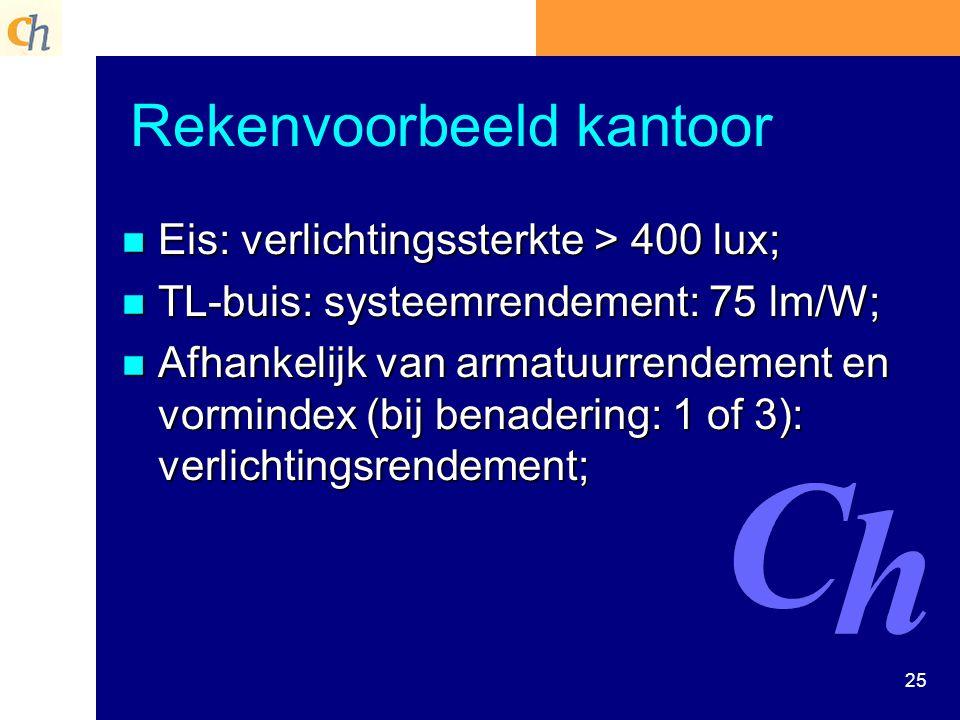 25 Rekenvoorbeeld kantoor n Eis: verlichtingssterkte > 400 lux; n TL-buis: systeemrendement: 75 lm/W; n Afhankelijk van armatuurrendement en vormindex