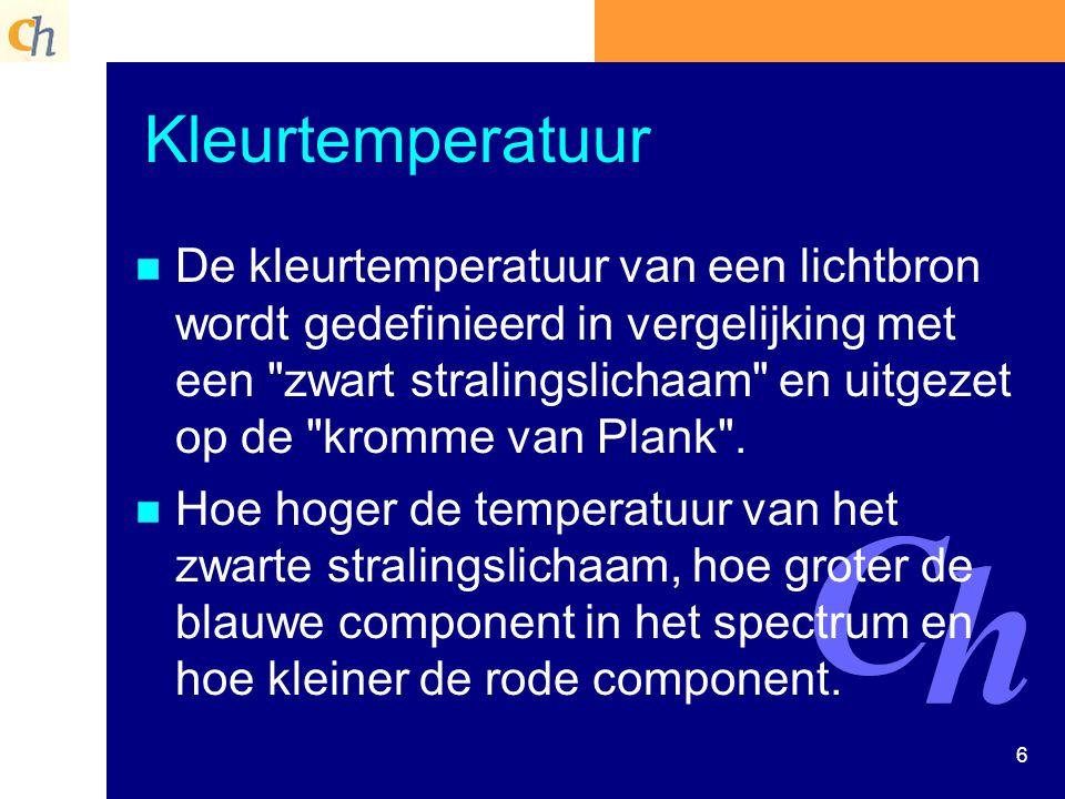 6 Kleurtemperatuur n n De kleurtemperatuur van een lichtbron wordt gedefinieerd in vergelijking met een