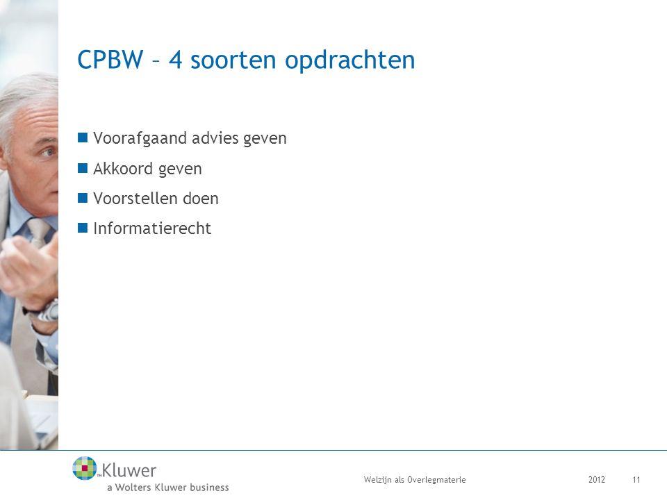 CPBW – 4 soorten opdrachten Voorafgaand advies geven Akkoord geven Voorstellen doen Informatierecht 2012Welzijn als Overlegmaterie11