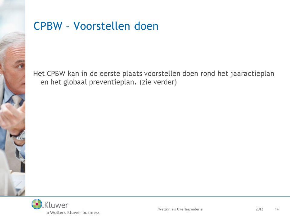 CPBW – Voorstellen doen Het CPBW kan in de eerste plaats voorstellen doen rond het jaaractieplan en het globaal preventieplan. (zie verder) 2012Welzij
