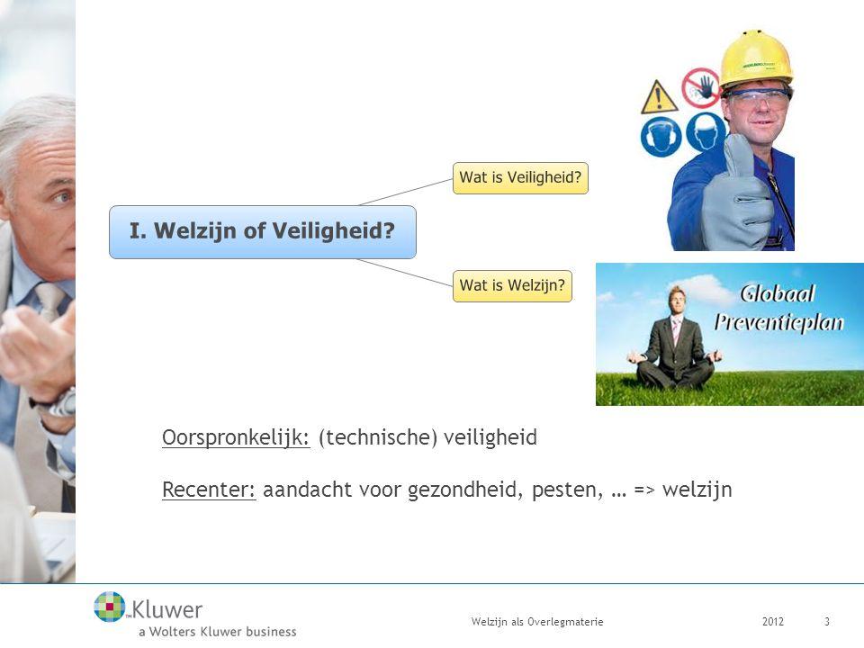 2012Welzijn als Overlegmaterie3 Oorspronkelijk: (technische) veiligheid Recenter: aandacht voor gezondheid, pesten, … => welzijn
