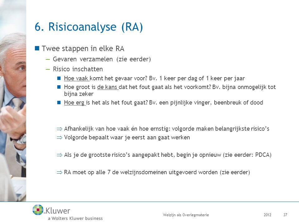 6. Risicoanalyse (RA) Twee stappen in elke RA —Gevaren verzamelen (zie eerder) —Risico inschatten Hoe vaak komt het gevaar voor? Bv. 1 keer per dag of