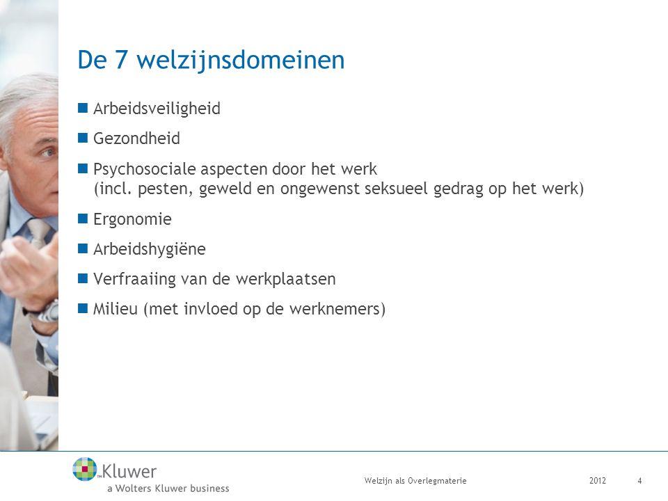 De 7 welzijnsdomeinen Arbeidsveiligheid Gezondheid Psychosociale aspecten door het werk (incl. pesten, geweld en ongewenst seksueel gedrag op het werk