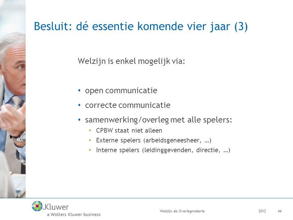 Besluit: dé essentie komende vier jaar (3) Welzijn is enkel mogelijk via: open communicatie correcte communicatie samenwerking/overleg met alle speler