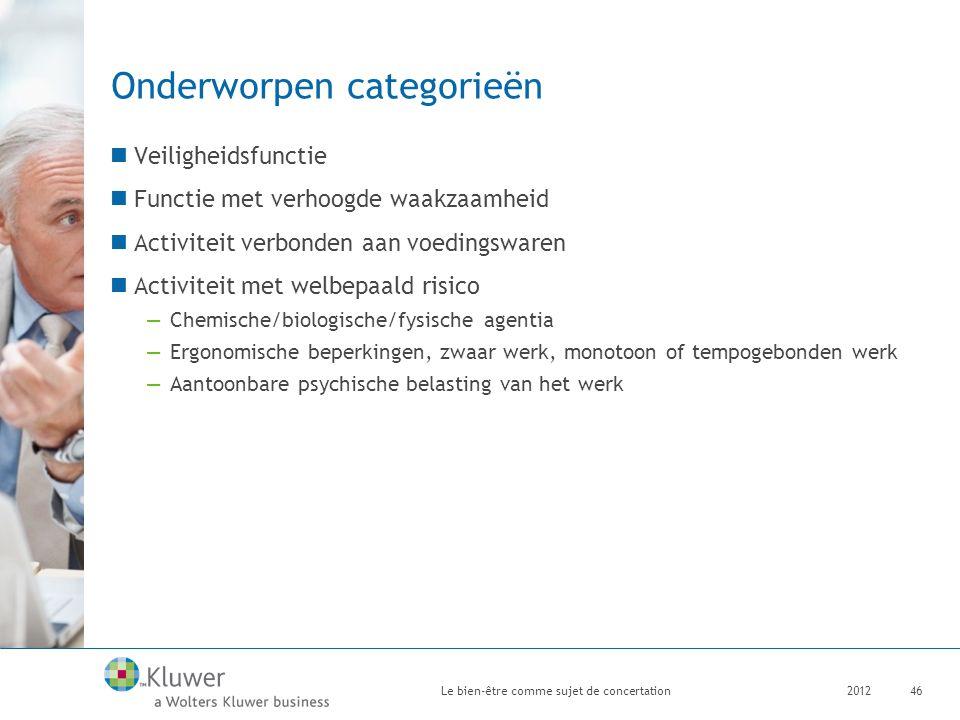 Onderworpen categorieën Veiligheidsfunctie Functie met verhoogde waakzaamheid Activiteit verbonden aan voedingswaren Activiteit met welbepaald risico