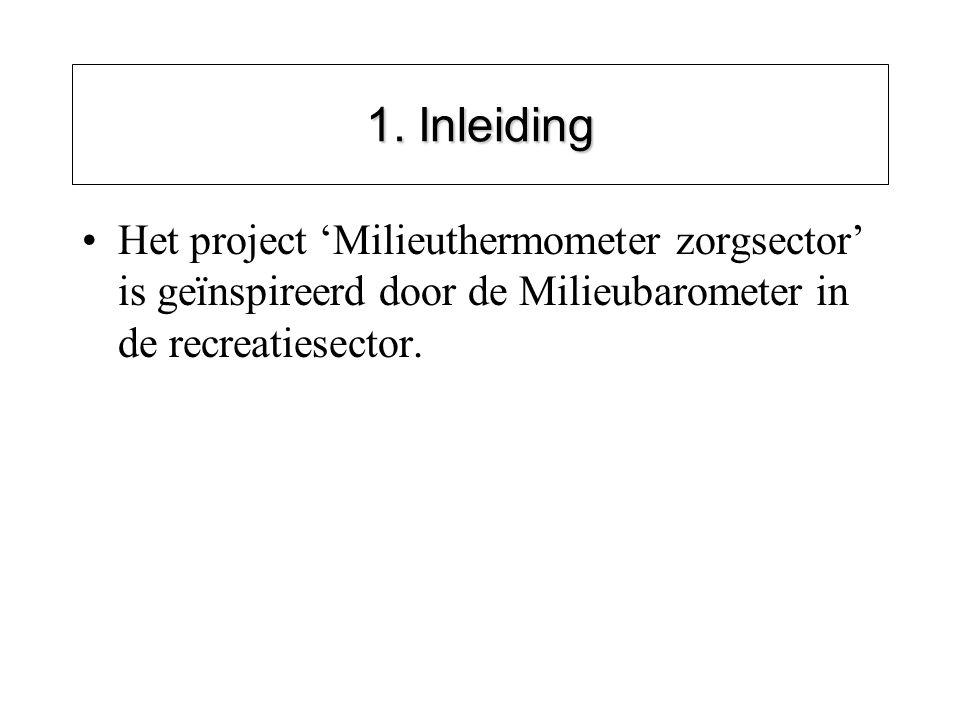 1. Inleiding Het project 'Milieuthermometer zorgsector' is geïnspireerd door de Milieubarometer in de recreatiesector.