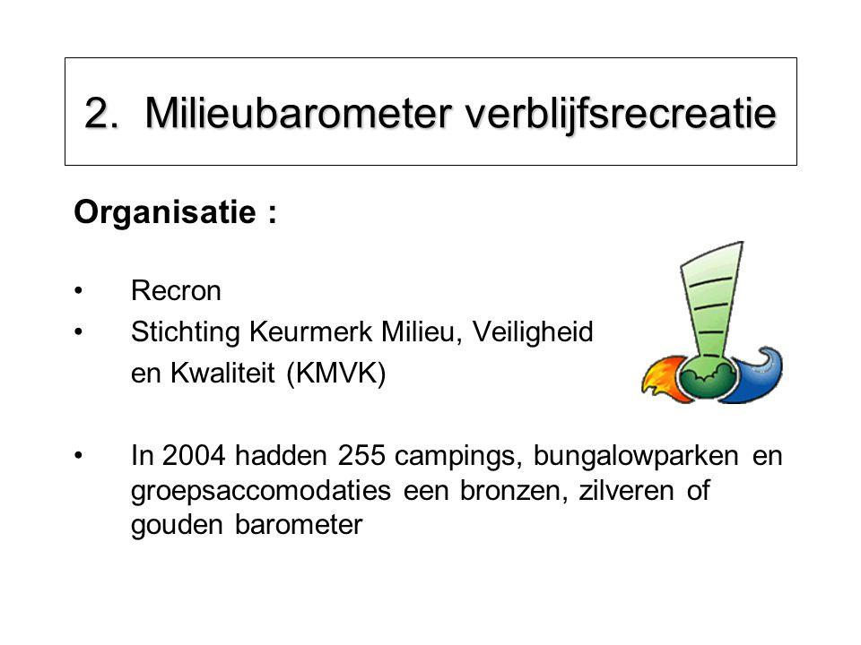 2. Milieubarometer verblijfsrecreatie Organisatie : Recron Stichting Keurmerk Milieu, Veiligheid en Kwaliteit (KMVK) In 2004 hadden 255 campings, bung