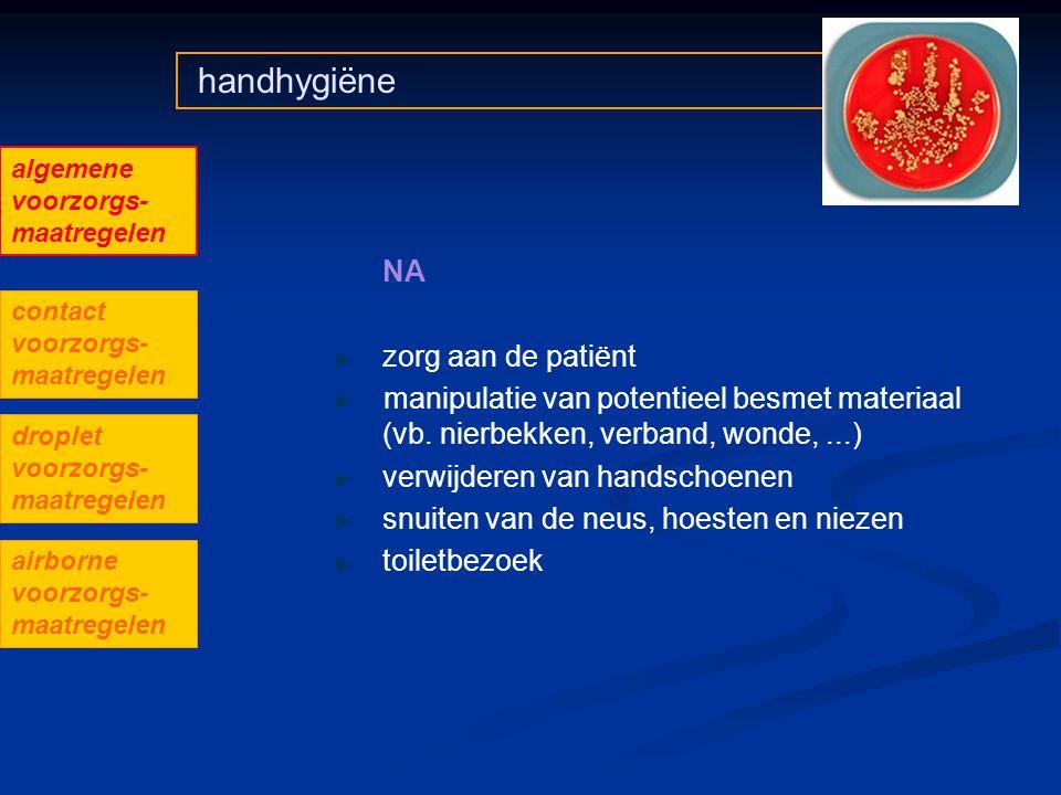 handhygiëne zorg aan de patiënt manipulatie van potentieel besmet materiaal (vb. nierbekken, verband, wonde,...) verwijderen van handschoenen snuiten