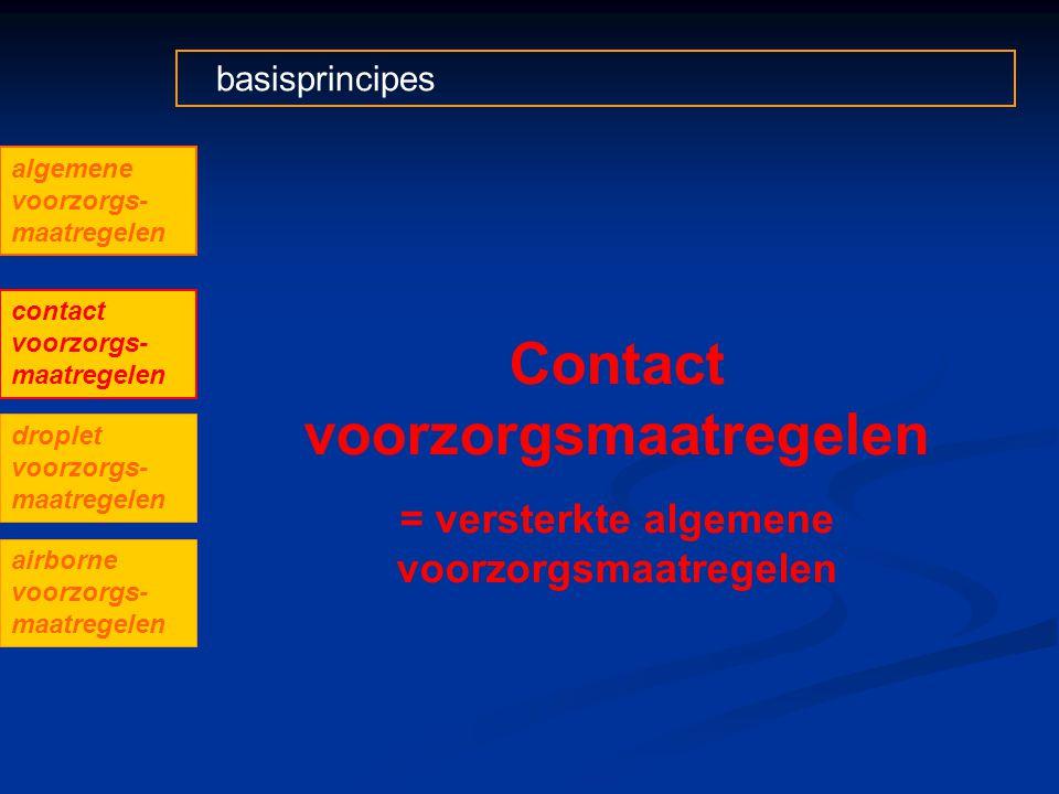 basisprincipes Contact voorzorgsmaatregelen = versterkte algemene voorzorgsmaatregelen algemene voorzorgs- maatregelen contact voorzorgs- maatregelen