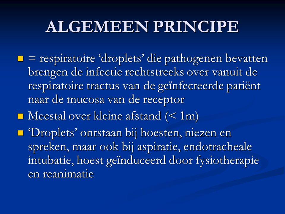 ALGEMEEN PRINCIPE = respiratoire 'droplets' die pathogenen bevatten brengen de infectie rechtstreeks over vanuit de respiratoire tractus van de geïnfe