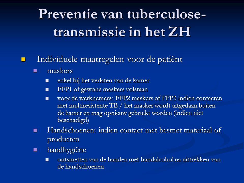 Preventie van tuberculose- transmissie in het ZH Individuele maatregelen voor de patiënt Individuele maatregelen voor de patiënt maskers maskers enkel