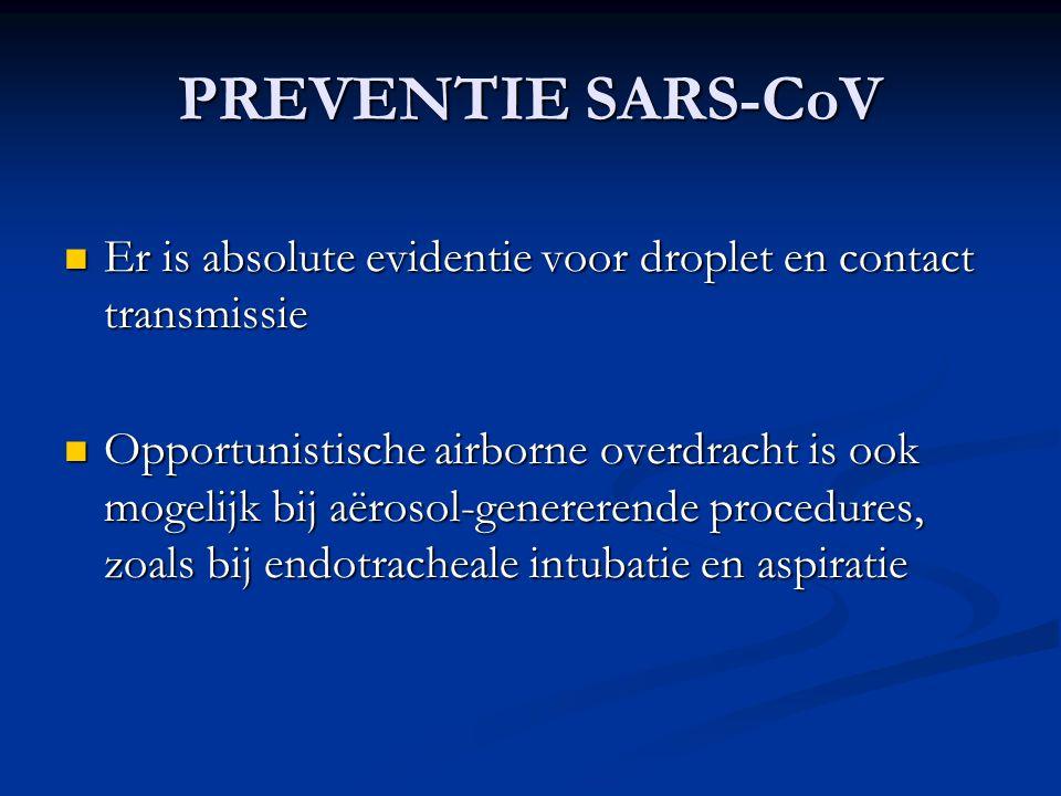 PREVENTIE SARS-CoV Er is absolute evidentie voor droplet en contact transmissie Er is absolute evidentie voor droplet en contact transmissie Opportuni