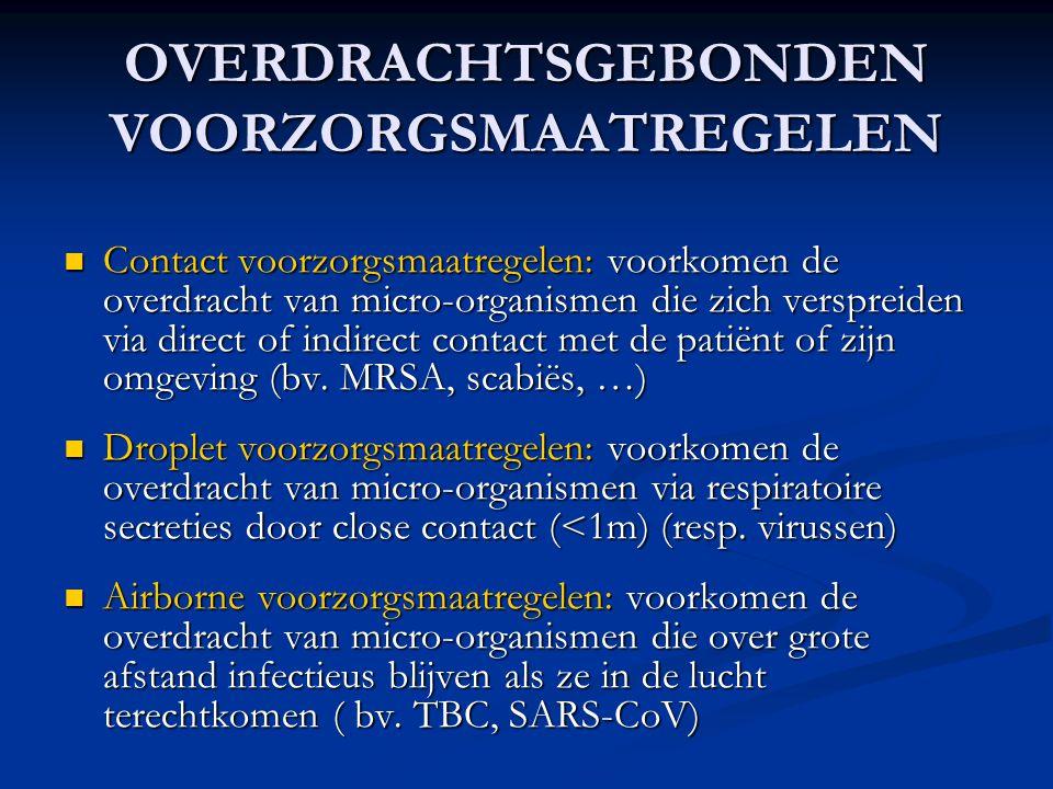 OVERDRACHTSGEBONDEN VOORZORGSMAATREGELEN Contact voorzorgsmaatregelen: voorkomen de overdracht van micro-organismen die zich verspreiden via direct of