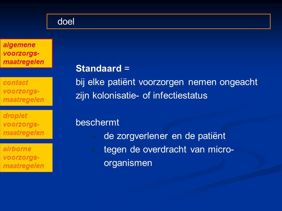 doel Standaard = bij elke patiënt voorzorgen nemen ongeacht zijn kolonisatie- of infectiestatus beschermt de zorgverlener en de patiënt tegen de overd