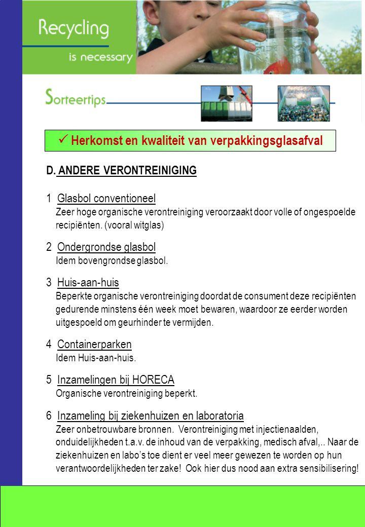 D. ANDERE VERONTREINIGING 1 Glasbol conventioneel Zeer hoge organische verontreiniging veroorzaakt door volle of ongespoelde recipiënten. (vooral witg