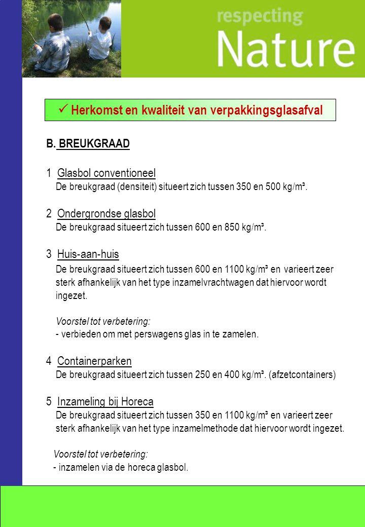 B. BREUKGRAAD 1 Glasbol conventioneel De breukgraad (densiteit) situeert zich tussen 350 en 500 kg/m³. 2 Ondergrondse glasbol De breukgraad situeert z