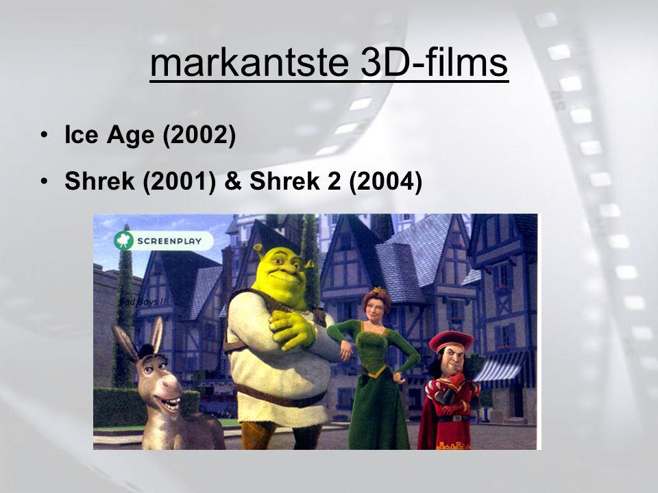 markantste 3D-films Ice Age (2002) Shrek (2001) & Shrek 2 (2004)
