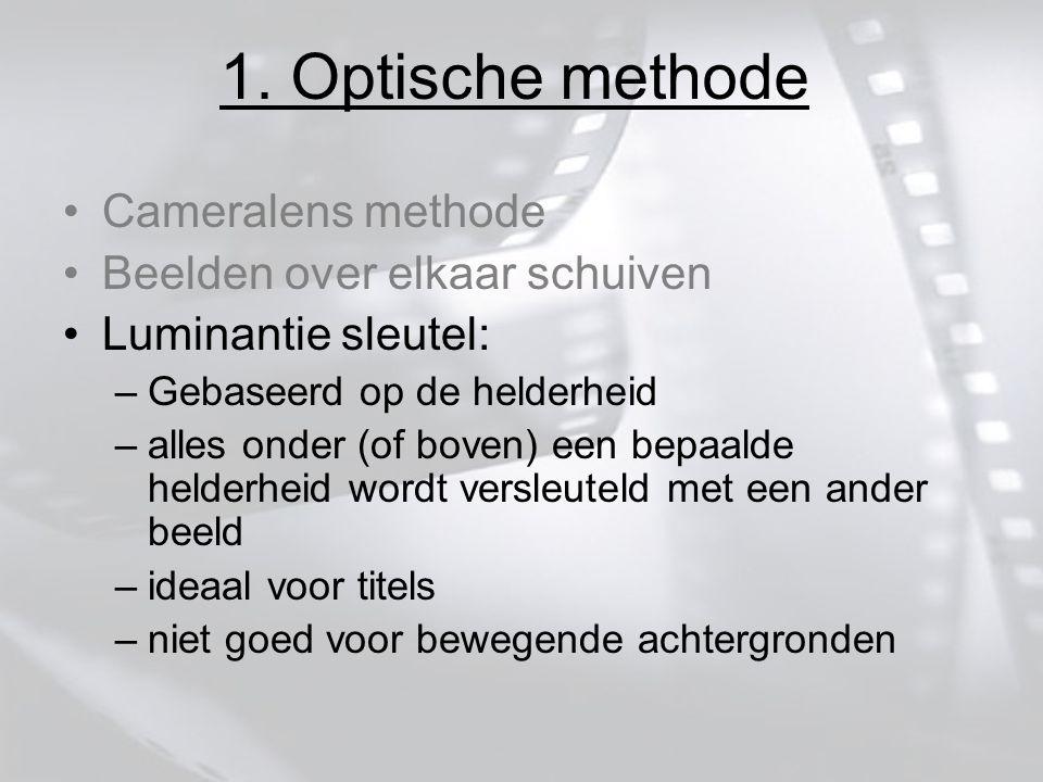 1. Optische methode Cameralens methode Beelden over elkaar schuiven Luminantie sleutel: –Gebaseerd op de helderheid –alles onder (of boven) een bepaal