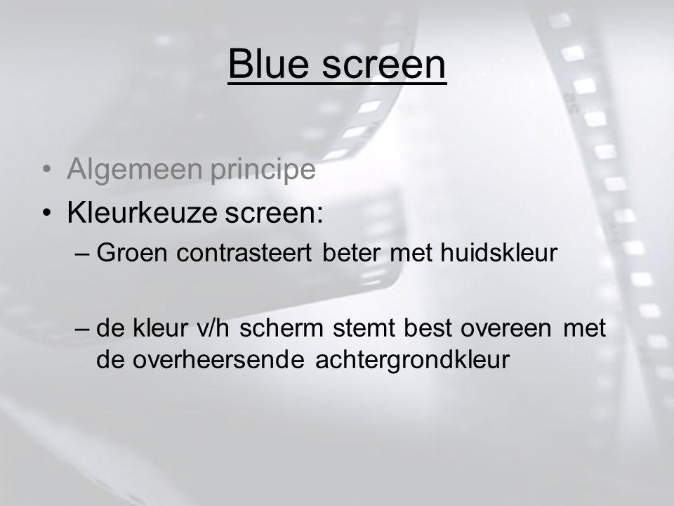 Algemeen principe Kleurkeuze screen: –Groen contrasteert beter met huidskleur –de kleur v/h scherm stemt best overeen met de overheersende achtergrondkleur