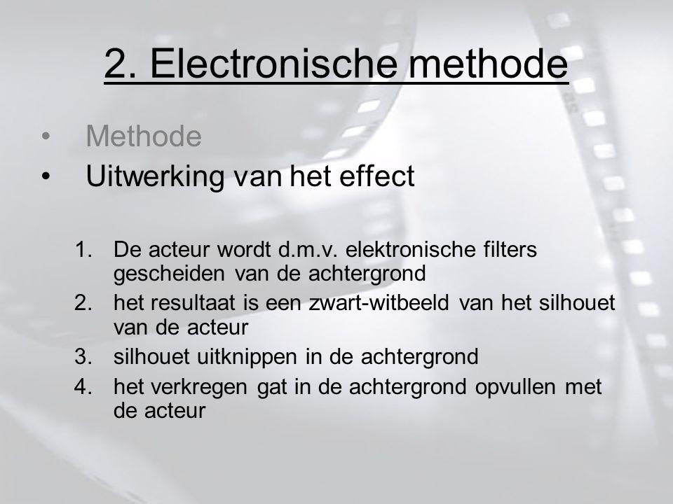 2. Electronische methode Methode Uitwerking van het effect 1.De acteur wordt d.m.v.