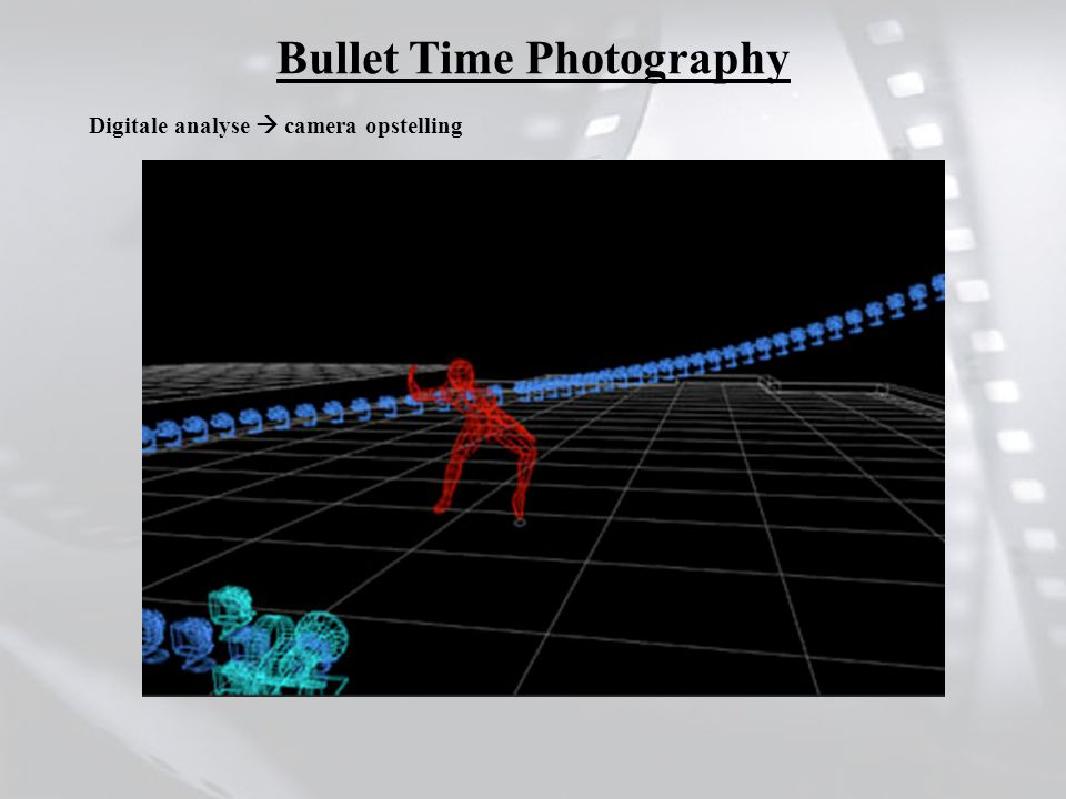 Digitale analyse  camera opstelling Bullet Time Photography