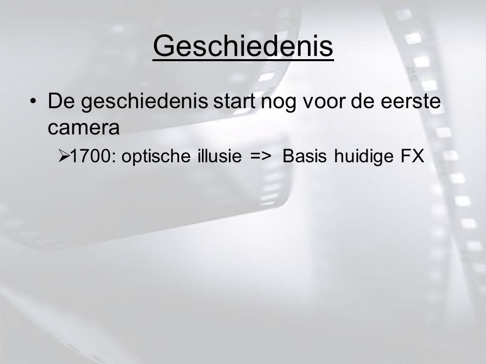Geschiedenis De geschiedenis start nog voor de eerste camera  1700: optische illusie => Basis huidige FX
