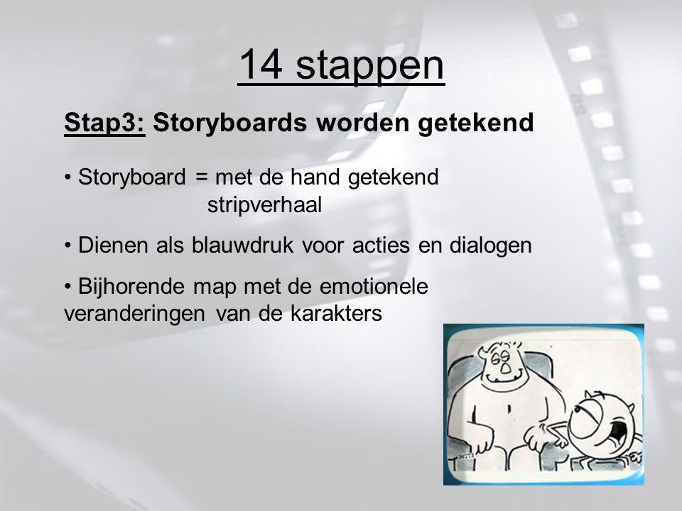 14 stappen Stap3: Storyboards worden getekend Storyboard = met de hand getekend stripverhaal Dienen als blauwdruk voor acties en dialogen Bijhorende map met de emotionele veranderingen van de karakters