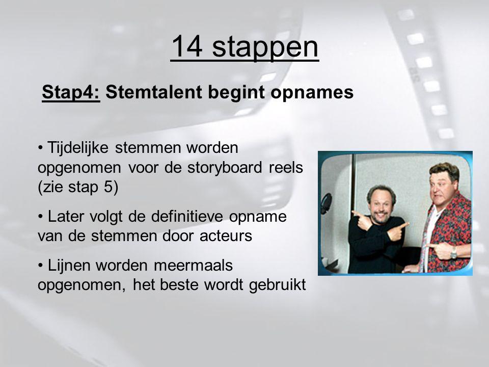 14 stappen Stap4: Stemtalent begint opnames Tijdelijke stemmen worden opgenomen voor de storyboard reels (zie stap 5) Later volgt de definitieve opname van de stemmen door acteurs Lijnen worden meermaals opgenomen, het beste wordt gebruikt