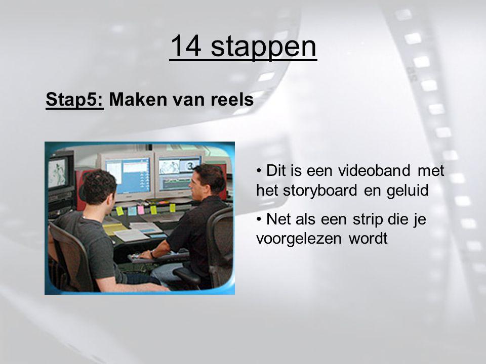 14 stappen Stap5: Maken van reels Dit is een videoband met het storyboard en geluid Net als een strip die je voorgelezen wordt