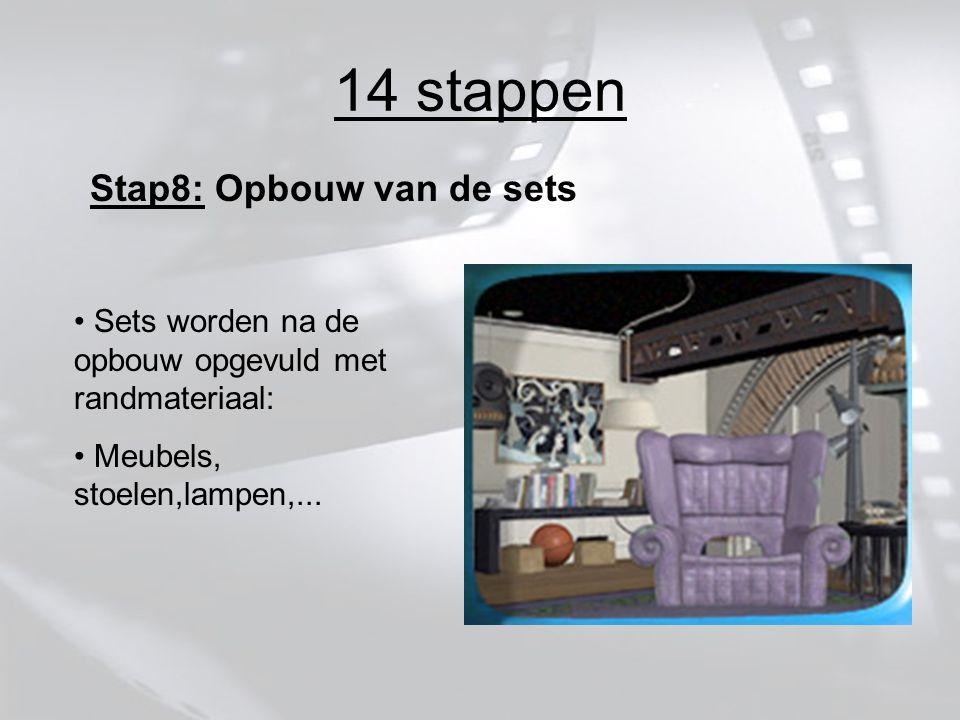 14 stappen Stap8: Opbouw van de sets Sets worden na de opbouw opgevuld met randmateriaal: Meubels, stoelen,lampen,...