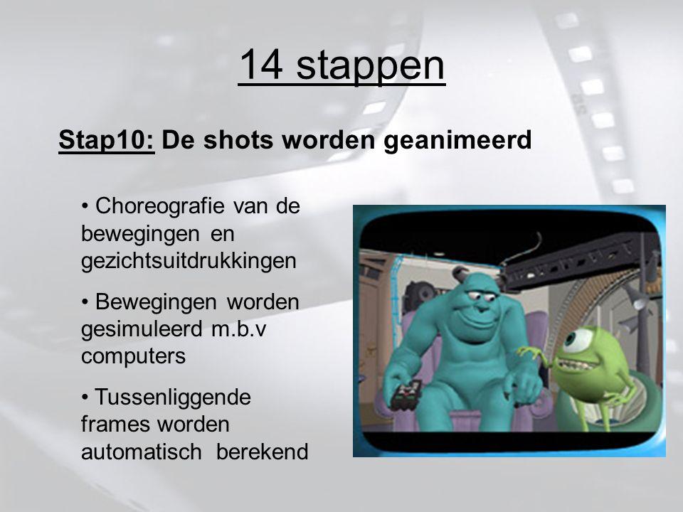 14 stappen Stap10: De shots worden geanimeerd Choreografie van de bewegingen en gezichtsuitdrukkingen Bewegingen worden gesimuleerd m.b.v computers Tussenliggende frames worden automatisch berekend
