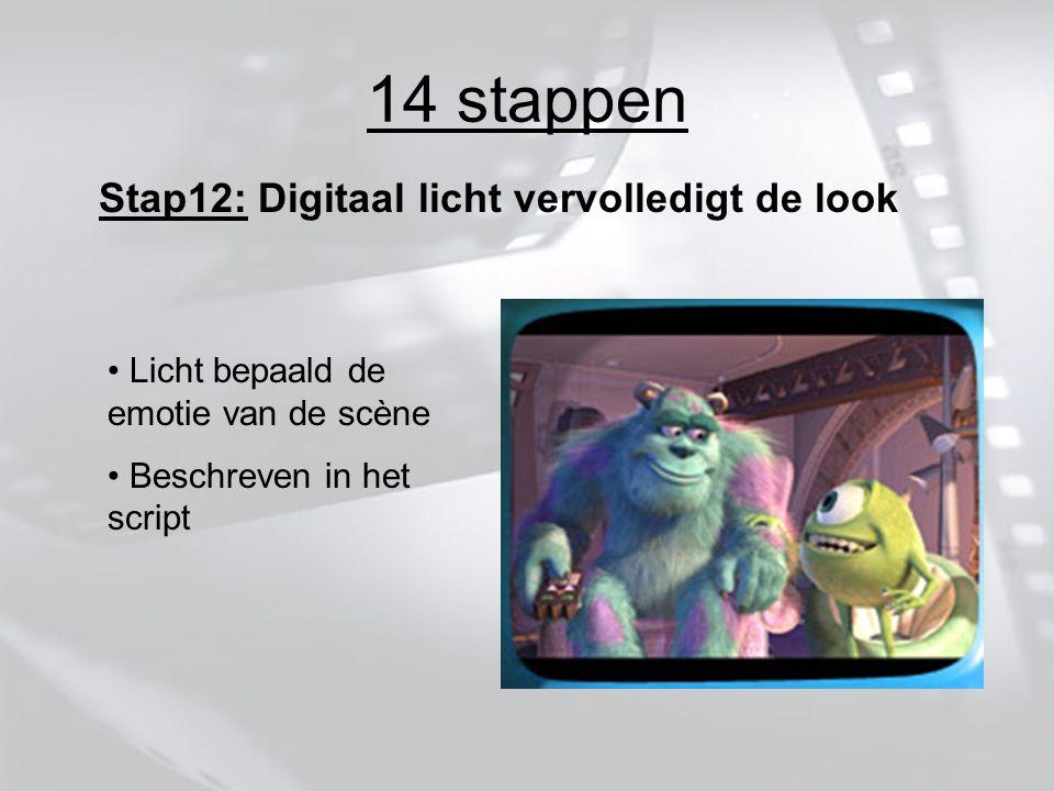 14 stappen Stap12: Digitaal licht vervolledigt de look Licht bepaald de emotie van de scène Beschreven in het script