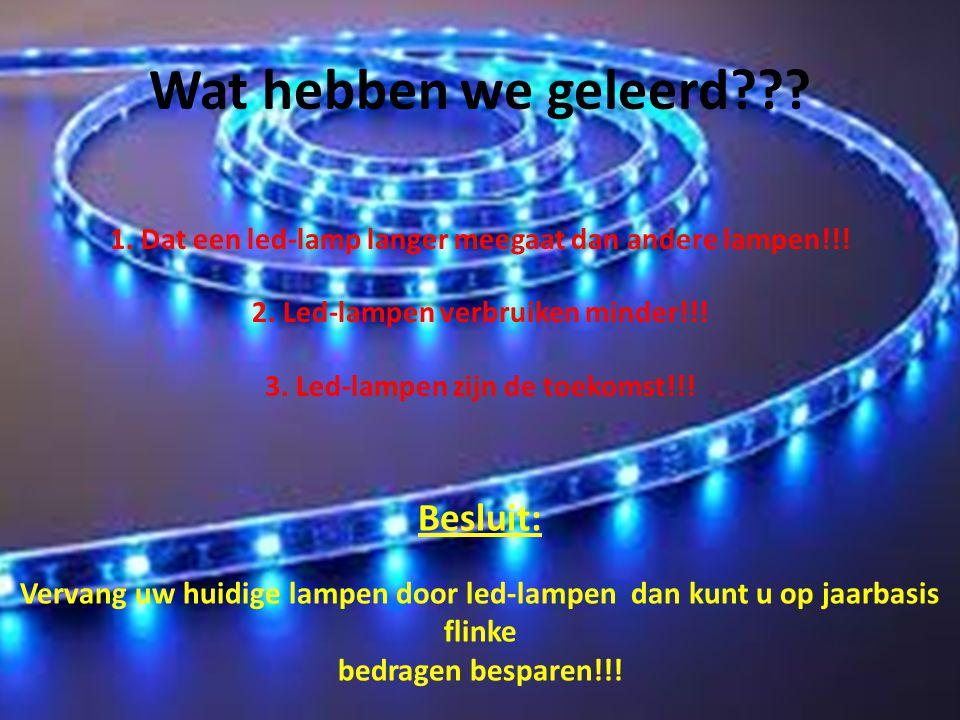 Wat hebben we geleerd??? Besluit: Vervang uw huidige lampen door led-lampen dan kunt u op jaarbasis flinke bedragen besparen!!! 1. Dat een led-lamp la