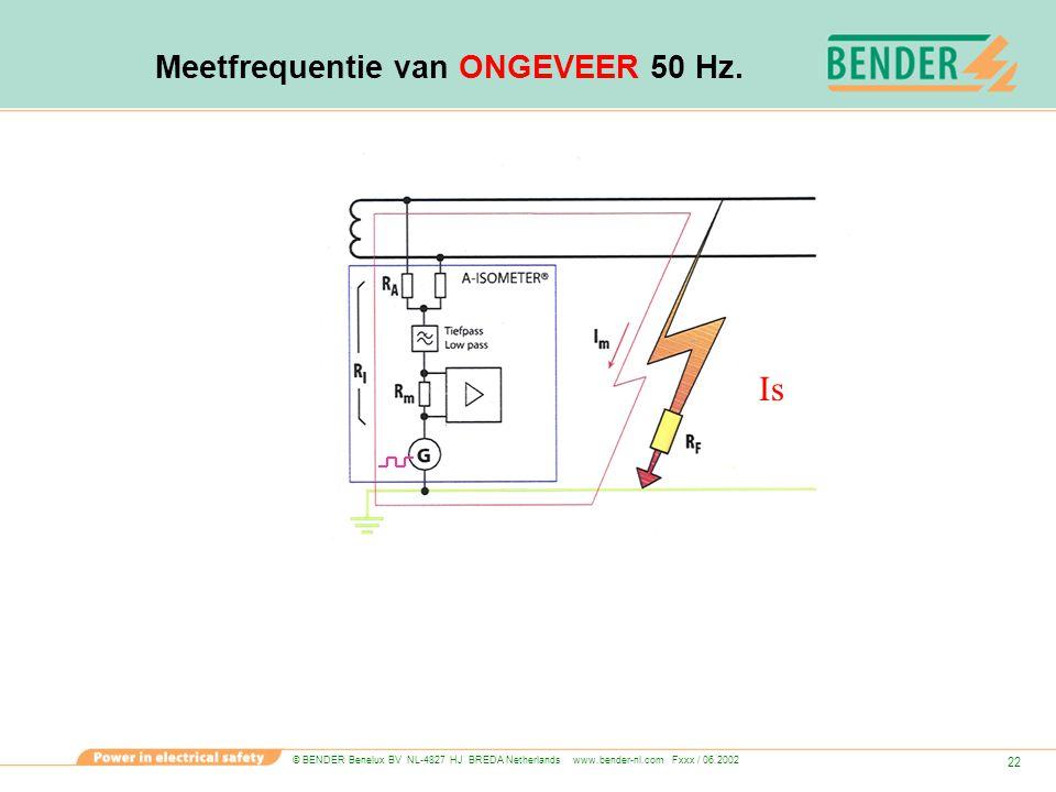 © BENDER Benelux BV NL-4827 HJ BREDA Netherlands www.bender-nl.com Fxxx / 06.2002 22 Meetfrequentie van ONGEVEER 50 Hz. Is
