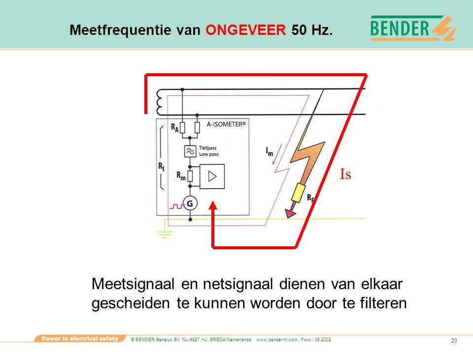 © BENDER Benelux BV NL-4827 HJ BREDA Netherlands www.bender-nl.com Fxxx / 06.2002 23 Meetfrequentie van ONGEVEER 50 Hz. Is Meetsignaal en netsignaal d