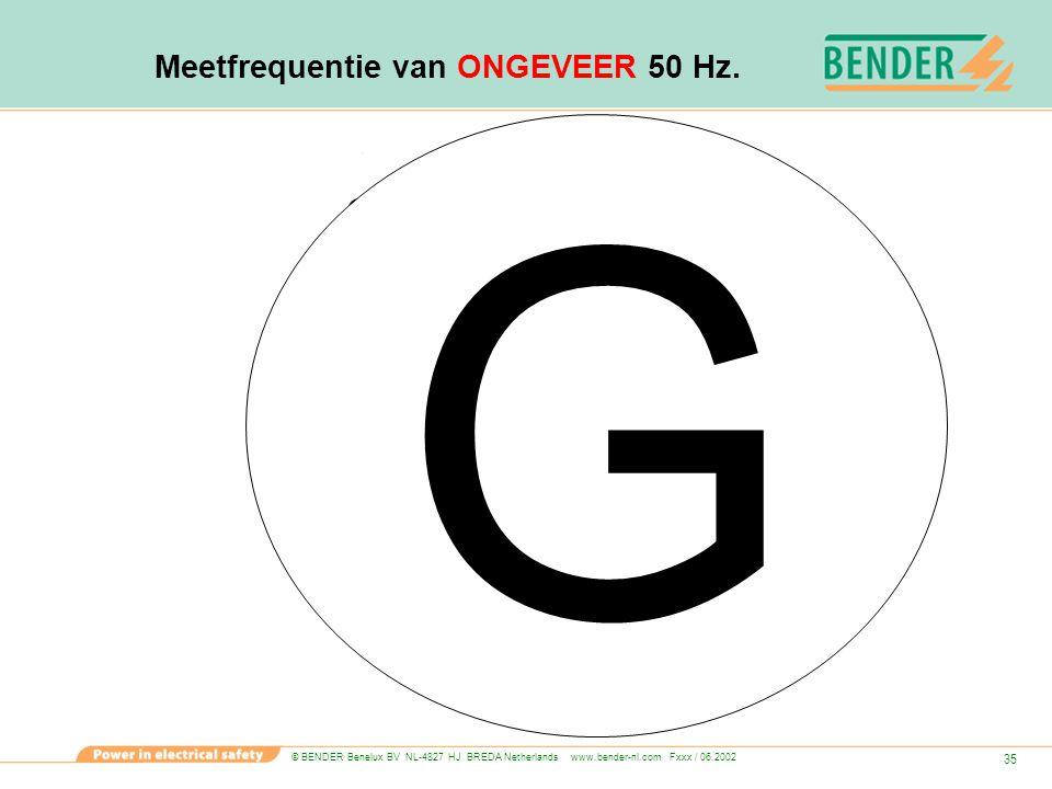 © BENDER Benelux BV NL-4827 HJ BREDA Netherlands www.bender-nl.com Fxxx / 06.2002 35 Meetfrequentie van ONGEVEER 50 Hz. Is G