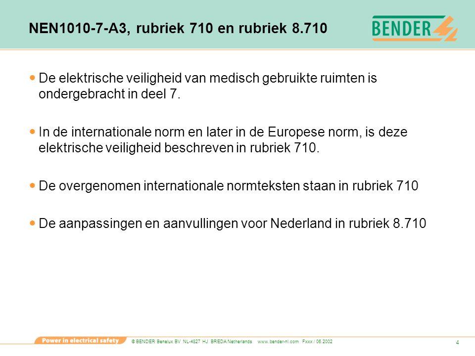 © BENDER Benelux BV NL-4827 HJ BREDA Netherlands www.bender-nl.com Fxxx / 06.2002 55 Elektrische installatie voor veiligheidsdoeleinden In medisch gebruikte ruimten moet een installatie voor veiligheidsdoeleinden aanwezig zijn die actief wordt bij storing van de normale voedingsbron.