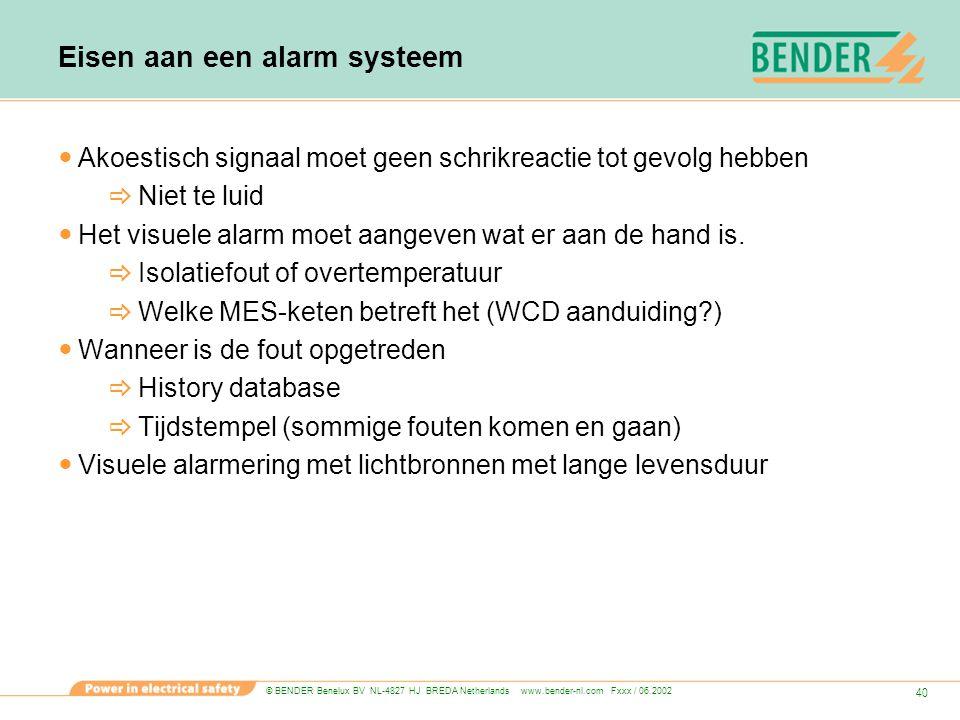 © BENDER Benelux BV NL-4827 HJ BREDA Netherlands www.bender-nl.com Fxxx / 06.2002 40 Eisen aan een alarm systeem Akoestisch signaal moet geen schrikre