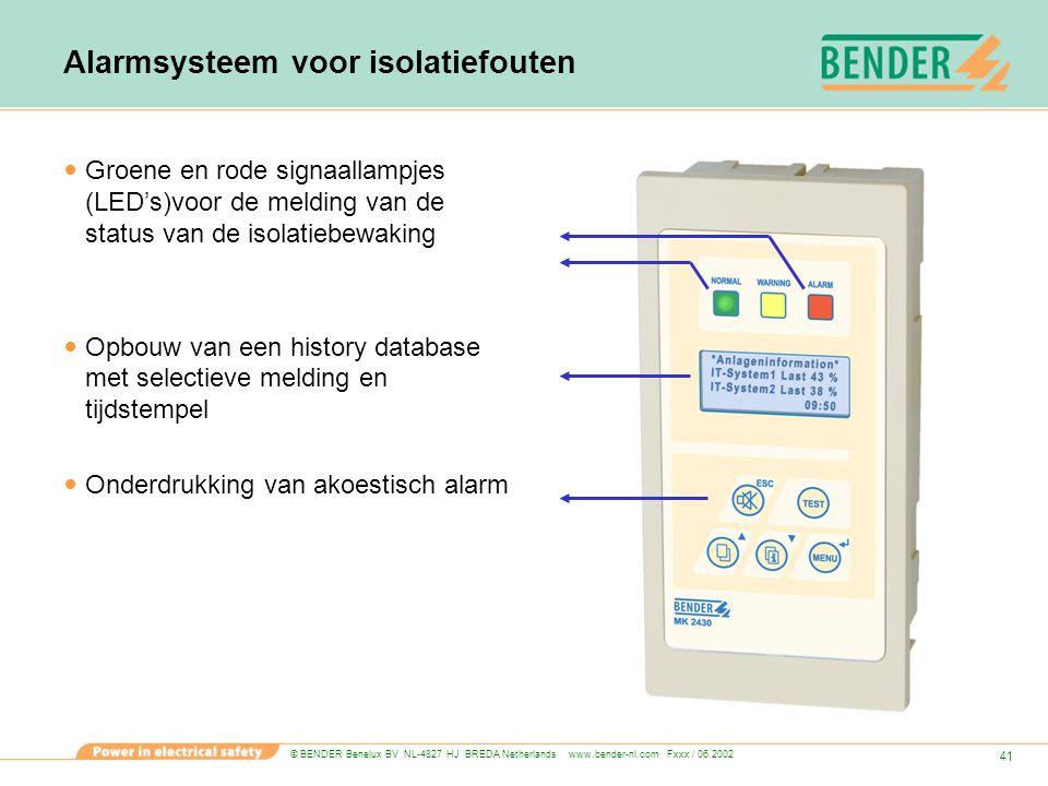 © BENDER Benelux BV NL-4827 HJ BREDA Netherlands www.bender-nl.com Fxxx / 06.2002 41 Alarmsysteem voor isolatiefouten Groene en rode signaallampjes (L