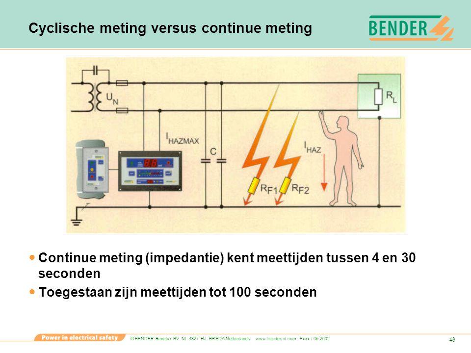© BENDER Benelux BV NL-4827 HJ BREDA Netherlands www.bender-nl.com Fxxx / 06.2002 43 Cyclische meting versus continue meting Continue meting (impedant