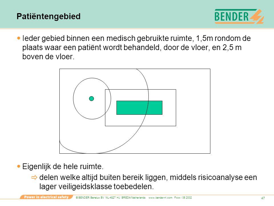 © BENDER Benelux BV NL-4827 HJ BREDA Netherlands www.bender-nl.com Fxxx / 06.2002 47 Patiëntengebied Ieder gebied binnen een medisch gebruikte ruimte,